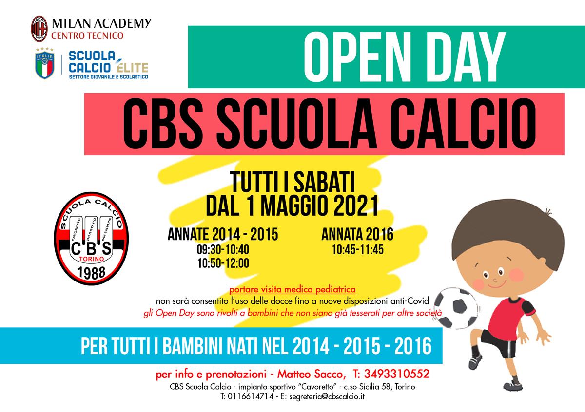 open day cbs scuola calcio 2021